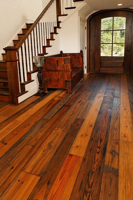 Heart Pine Reclaimed Old Dirty Goat Oil Character Grade Wear Layer
